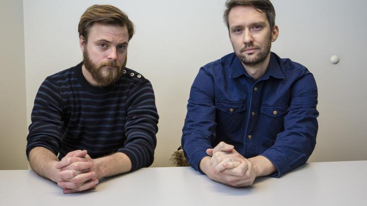 Markus Gaup�s Johansen og Sturle Vik Pedersen er mennene bak satireprosjektet 5080 Nyhetskanalen. N� skal de ogs� presentere sine skarpe nyhetsblikk i Dagbladet. Foto: Lars Eivind Bones / Dagbladet