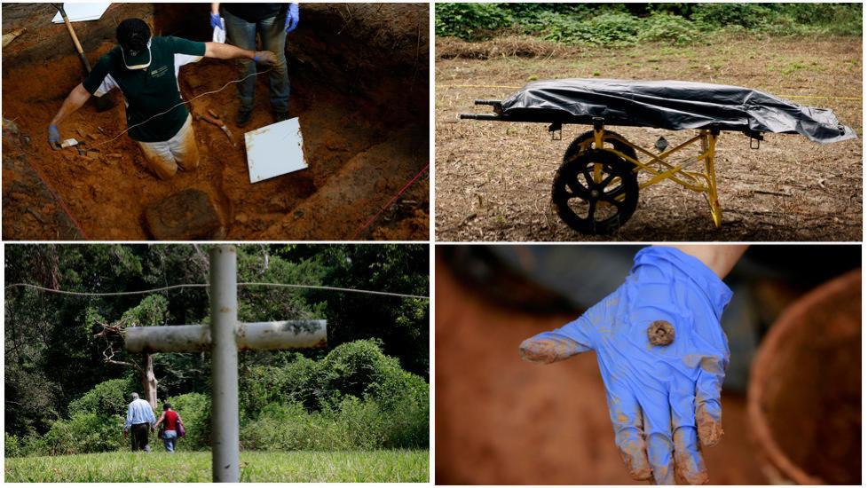 FUNN:Flere gutter ble funnet ved de umarkerte gravene rundt skolens område.Arkivfoto: Zuma Press/NTB Scanpix.