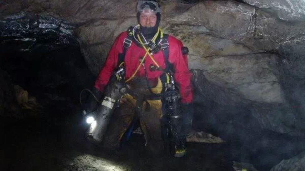 OVERRASKET: Den meget erfarne grottedykkeren Hallgeir Revhaug er overrasket at det skjer en ny ulykke i Pluragrotten n�. Foto: Privat