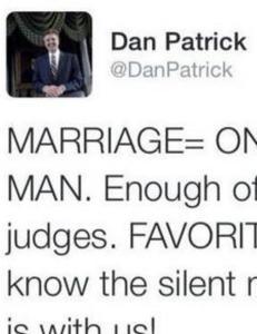 Texas-senatoren skulle bare poengtere hvor imot homofilt ekteskap han er...