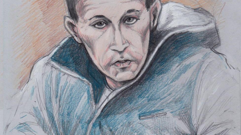 D�MT: I dag falt dommen i Sunnm�re tingrett der Steven Dan Danielsen sto tiltalt for voldtekt og drap av Anda Wel�y Aarseth. Han ble d�mt til lovens strengeste straff, 21 �rs forvaring. Tegning: Fedor Sapegin