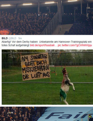 Supportere sendte makaber beskjed til rivalen f�r hatkamp