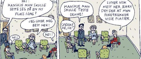 Tegneserie med lattermildt blikk p� gruppeterapi