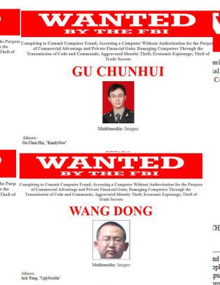 N� er USA ute etter disse fem kinesiske milit�re for hacking og spionasje