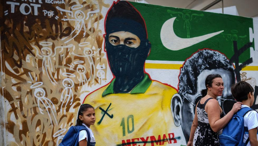 «Black Bloc» tagget Neymar som demonstrant.