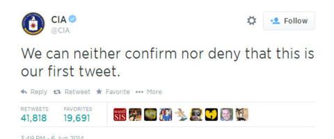 CIA vil verken bekrefte eller avkrefte at dette er deres f�rste tweet