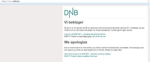 DNBs nettsider tatt ned av hackerangrep