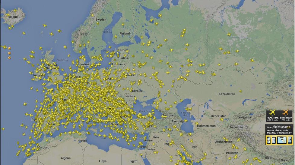 Tomt luftrom over Ukraina i dagene etter at Malaysia Airlines MH17 ble skutt ned.