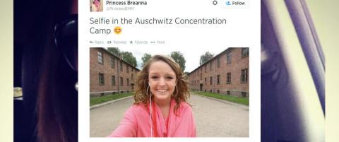 Breanna postet smile-selfie fra Auschwitz, har f�tt hundrevis av hatmeldinger