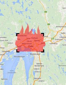 S� stort er omr�det som st�r i flammer, og brannen er bare �n mil unna Norberg med 4500 innbyggere