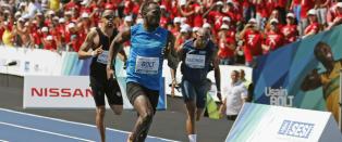 Bolt l�p sin f�rste 100 meter siden september i fjor - og vant