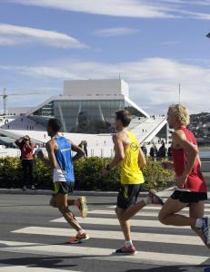 Forsinket start p� Oslo Maraton p� grunn av et gjerde