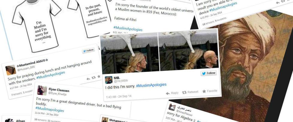 Muslimer tyr til humor med #MuslimApologies