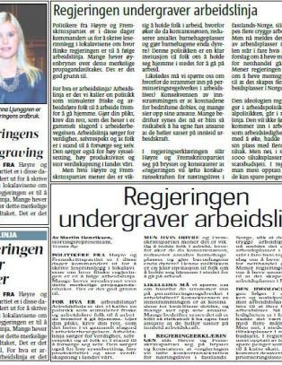 Ap-politikere med propaganda-kritikk av H�yre og Frp - i kliss like leserinnlegg