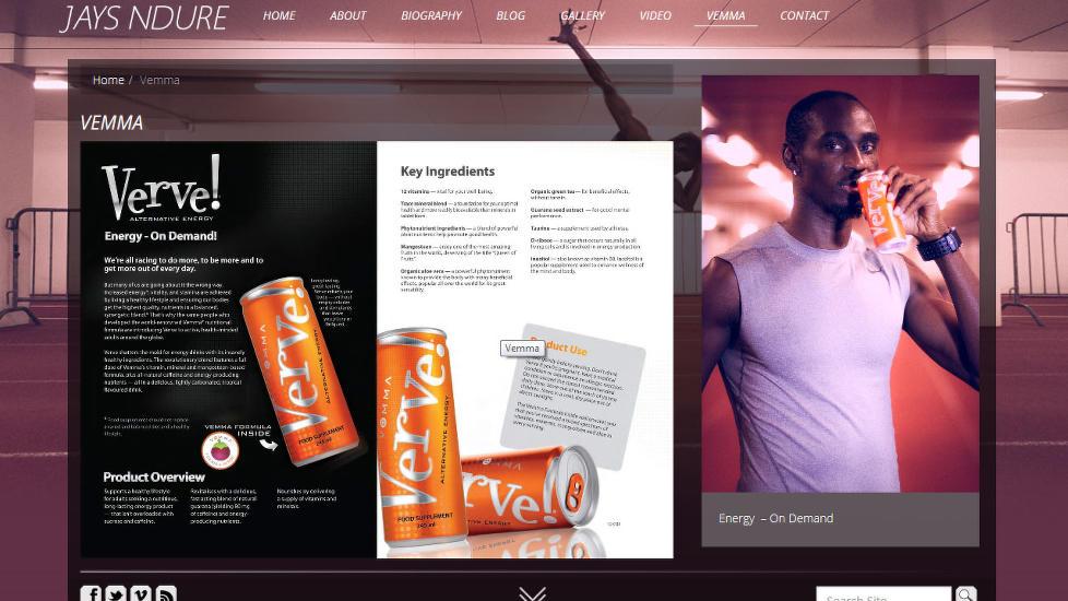 DYRE SLURKER: På sin egen hjemmeside vier Jays Ndure god plass til sportsdrikken fra det kontroversielle selskapet Vemma. Det kan koste ham dyrt: Både Olympiatoppen og friidrettsforbundet har brutt med Ndure på grunn av sportsdrikkreklamen.