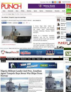 Forsvarets b�tsalg skaper mediestorm i Nigeria