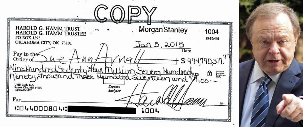 Den legendariske oljemilliard�ren skrev ut sjekk p� 975 millioner dollar, men ekskona takket nei. Hun vil ha mer