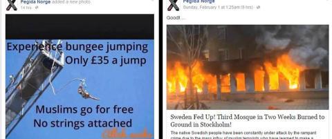 Pegida Norge la ut meldinger om at brennende moskeer var bra og at muslimer kan hoppe gratis i strikk - uten sikring