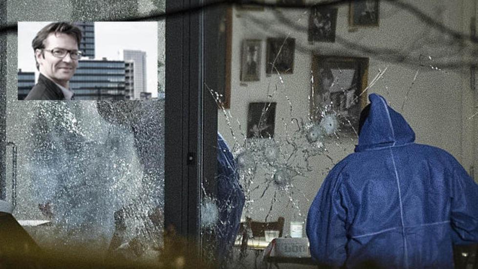 DREPT:  Filmregissør Finn Nørgaard (innfelt) ble drept av terroristen som i går ettermiddag slo til mot kulturhuset «Krudttønden». Foto (innfelt): Filmselskabets hjemmeside / Denmark topshots.