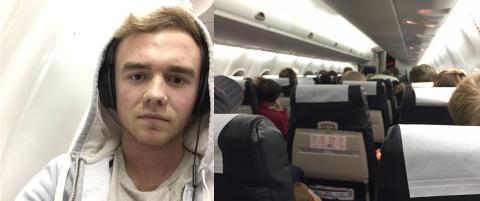 Andreas ble fanget p� flyet p� grunn av bombetrussel. N� er flyplassen �pnet igjen