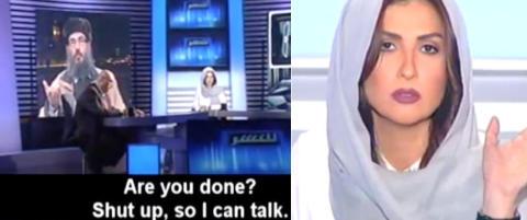 Islamist ber kvinnelig TV-vert om � holde kjeft. Det gj�r hun ikke