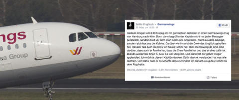 Den tyske flykapteinens tale fikk alle passasjerene til � bryte ut i spontan applaus