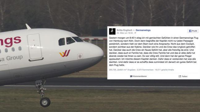 Den tyske flykapteinens tale fikk alle passasjerene til � bryte ut i spontan applaus: -Det ble fullstendig stille ...
