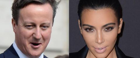 David Cameron hevder han er i slekt med Kim Kardashian