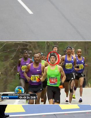 Amat�r satte maraton-vinneren i skyggen med r�rende gest til d�trene