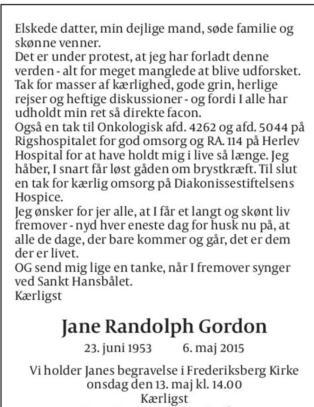 Moren Jane (61) skrev sin egen  d�dsannonse: - Vi er fullstendig overveldet