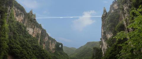 Kineserne bygger 380 meter lang hengebro av glass. G�r du over ser du 300 meter rett ned