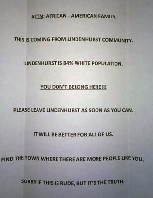 �84 prosent av de som bor her er hvite. Du h�rer ikke hjemme�