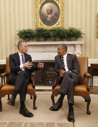 Nato-Jens m�tte Obama i Det hvite hus: - Vi er heldige som har generalsekret�r Jens Stoltenberg i lederrollen
