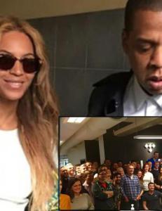Sjekk, her poserer Jay Z og Beyonc� med gjengen p� Wimp