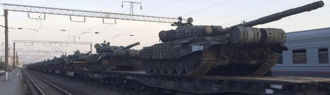 Her str�mmer store styrker mot grenseomr�dene ved Ukraina
