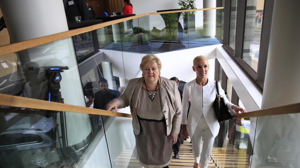 FÅR STØTTE FRA ERNA:  Gunhild Stordalen og statsminister Erna Solberg var enige om det meste  på  EAT-konferansen i Stockholm Foto: Nina Hansen / Dagbladet