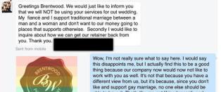 Fotografens svar g�r verden rundt, etter at han hamlet opp med homofobisk bryllupskunde