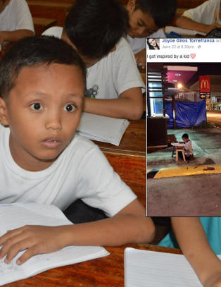 Hele verden lot seg r�re av hjeml�se Daniel (9) som gjorde lekser utenfor McDonalds. N� f�r han dr�mmen oppfylt