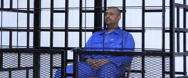 Muammar Kadhafis s�nn d�mt til d�den i Libya