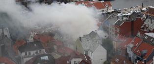 Beboerne pr�vde � slokke brannen selv