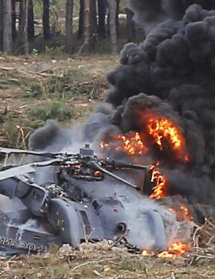 Russisk milit�rhelikopter gikk rett i bakken under oppvisning