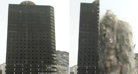 Bygning under konstruksjon deles i to og kollapser