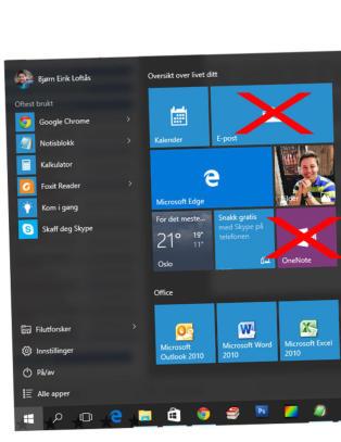 Slik fjerner du standard-appene i Windows 10