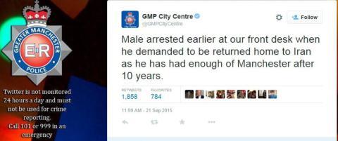 Illegal innvandrer m�tte opp p� politistasjonen i Manchester, og krevde � bli sendt hjem til Iran fordi han er lei av byen