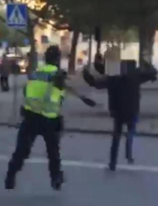 Her sl�r svensk politi til etter dramatisk masseslagsm�l mellom Malm�- og Real Madrid-hooligans