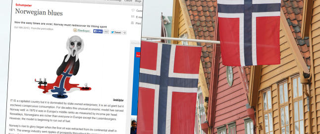Langer ut mot norsk �konomi, hyller John Fredriksen og omtaler Norges nyord naving