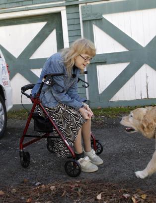 F�rerhunden Figo hoppet foran en buss for � redde Audrey. Gjensynet etterp� ble r�rende