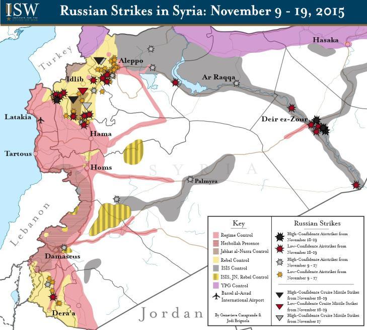 HER HAR RUSSLAND BOMBET: Det amerikanske forskningsinstituttet ISW har laget denne oversikten over russiske bombinger mellom 9. og 19. november. De svarte områdene er områder kontrollert av terrorgruppa IS, de gule er opprørsgrupper, de røde er Assad-regimet, de lilla er kurdiske YPG og de brune områdene er al-Qaidas Nusrafronten. De røde, svarte, grå og gule stjernene viser russiske bombeangrep.
