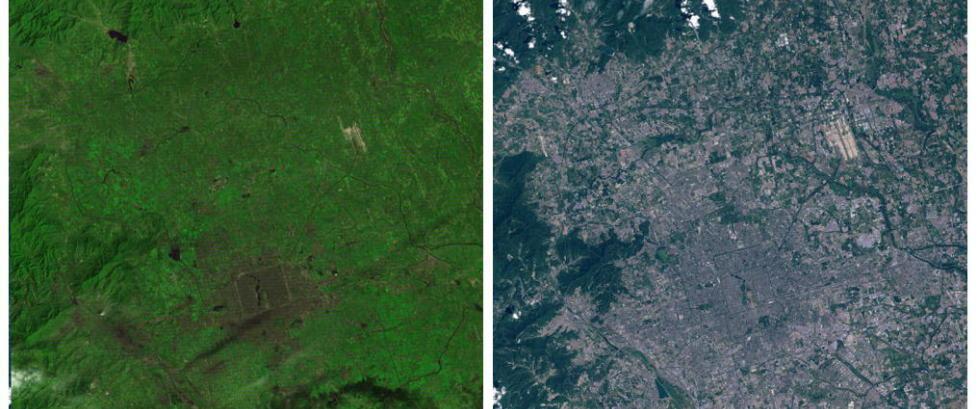 Det skiller 36 �r mellom disse bildene, og voksesmertene vil ikke ta slutt for Beijing