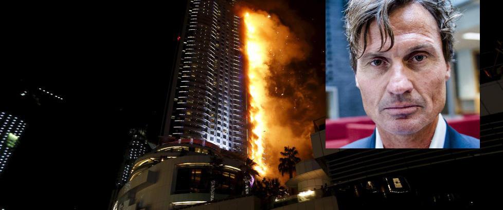 Petter Stordalen og Gunhild Stordalen bor p� luksushotellet i Dubai som st�r i flammer, men er i sikkerhet
